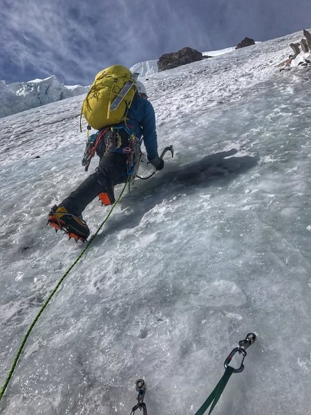 Me, leading the ice pitches
