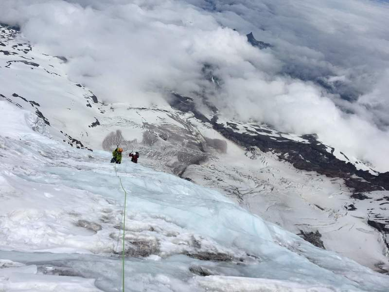 Climbing the last bit of ice on the route
