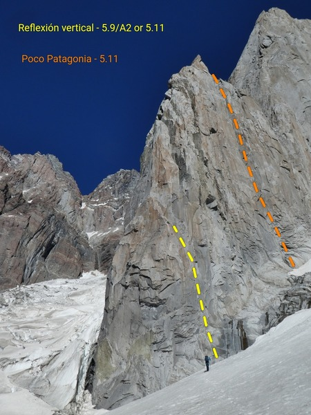 Falso brujo, with the two routes we attempted : reflexion vertical and poco Patagonia
