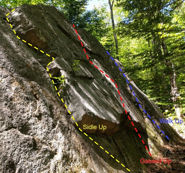 Three routes on the boulder