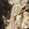 The wall on the back (east) side of the big face above bird rock. Yellow is Optimism Curve, blue is TR Face, Red is Freaked Out.