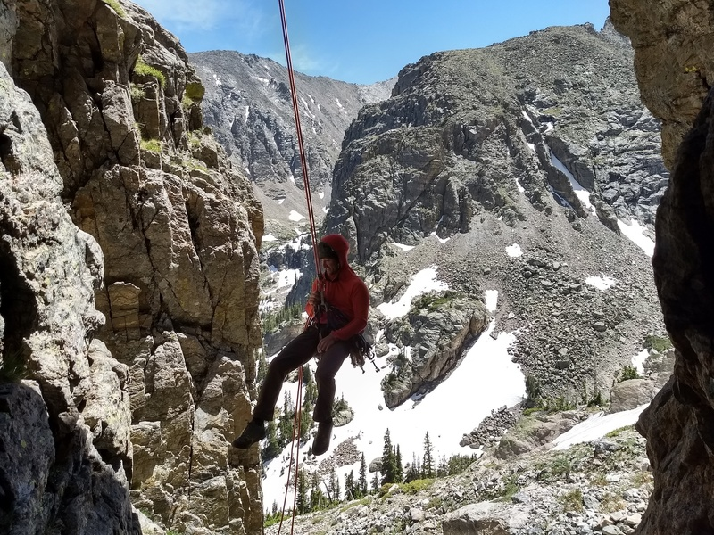 Derek Chiccito finishing the final rappel off the Zowie descent.