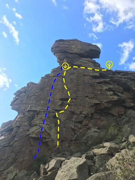 Note the blue line. I didn't climb this. It had two chalked underclings on it. Looks like some one TRed it from the anchor. Looks fun as well, but no gear options to get you off the blocks safely on lead.