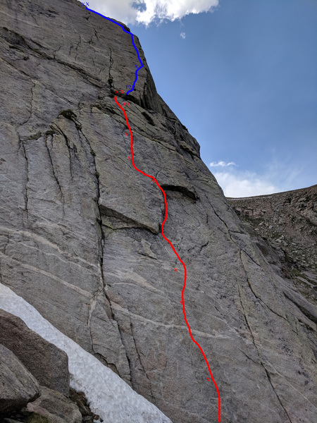 """An overview of route with the """"general"""" locations of the bolts, pitch one in red pitch two in blue."""