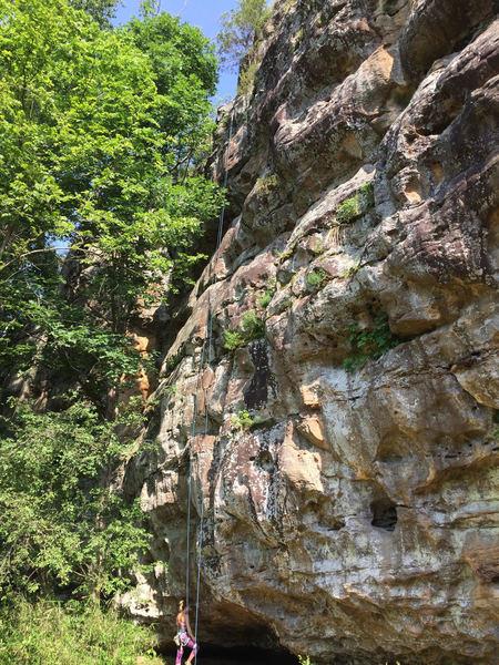 Molly Gabel preparing to climb Dead Dog on tr