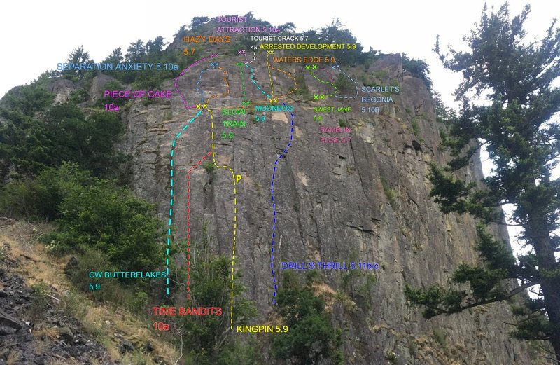 Beacon West Face, many of these are mixed routes so don't forget your rack. Topo current as of APRIL 7TH 2021
