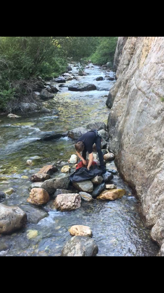 Put a couple rocks at the base. water level is low enough you can easily do this route now without getting your rope too wet... but be careful when you pull it through the chains! 7/15/2018