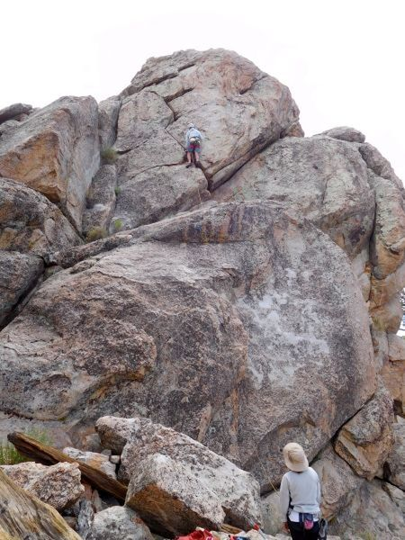 Brandt leading Audie (5.8), Holcomb Valley Pinnacles