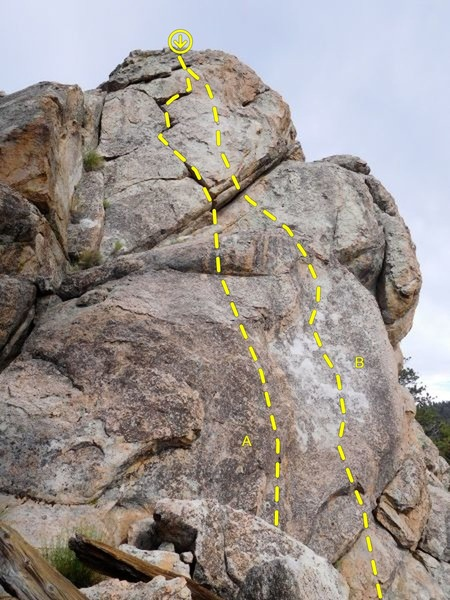 South Prowler Rock (West Face), Holcomb Valley Pinnacles<br> <br> A. Audie (5.8)<br> B. Tubbie (5.10a)