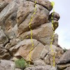 South Prowler Rock (South Face), Holcomb Valley Pinnacles<br> <br> A. Trail of Tiers (5.11b)<br> B. George's Big Adventure (5.7)