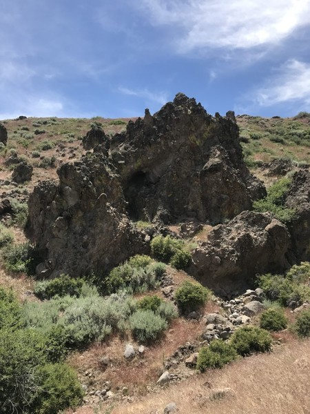 Lava Castle Boulder, further up in The Mega Boulders ravine.  There are a few climbs here, but the landings are not forgiving.