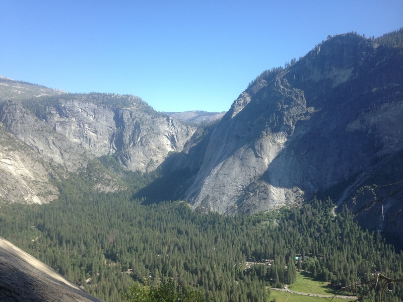View of Little Yosemite Valley and the Apron from the lower end of the route, upper traverse was totally covered in pine needles