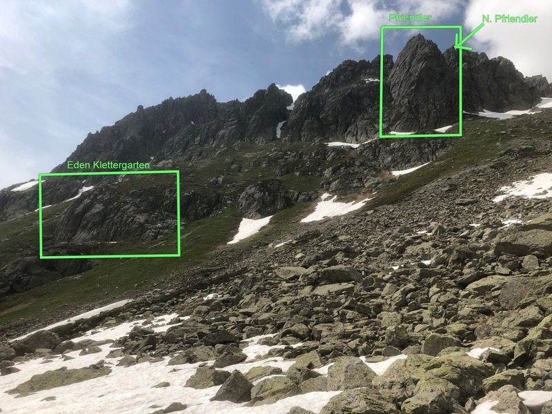 Climbing areas near Pfriendler in Steingletscher