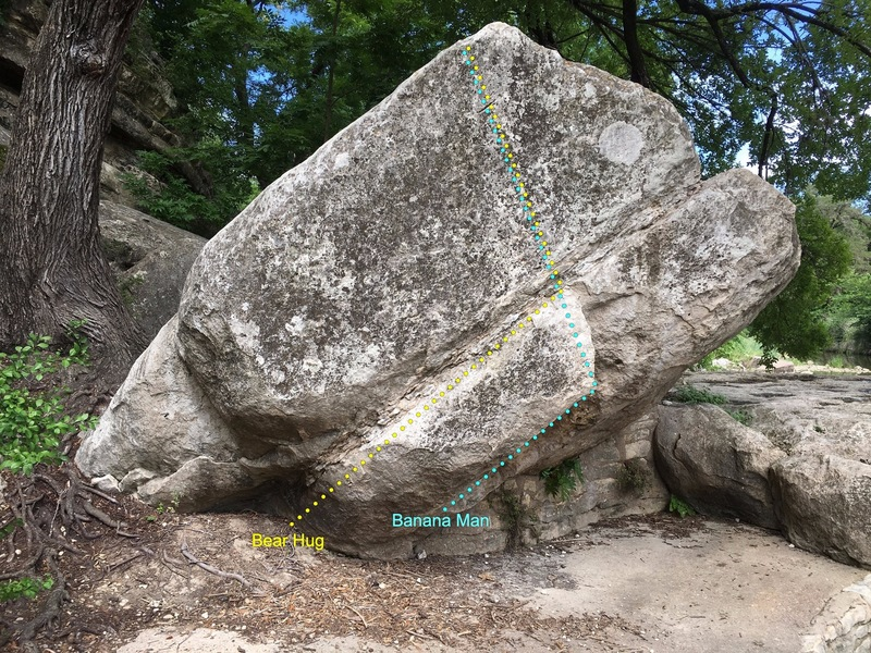 The Rope Swing boulder. The far left side of Big Chief can be seen behind the tree.