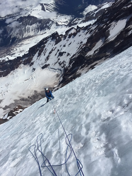 2nd pitch of 4 above the black pyramid.    Good alpine ice
