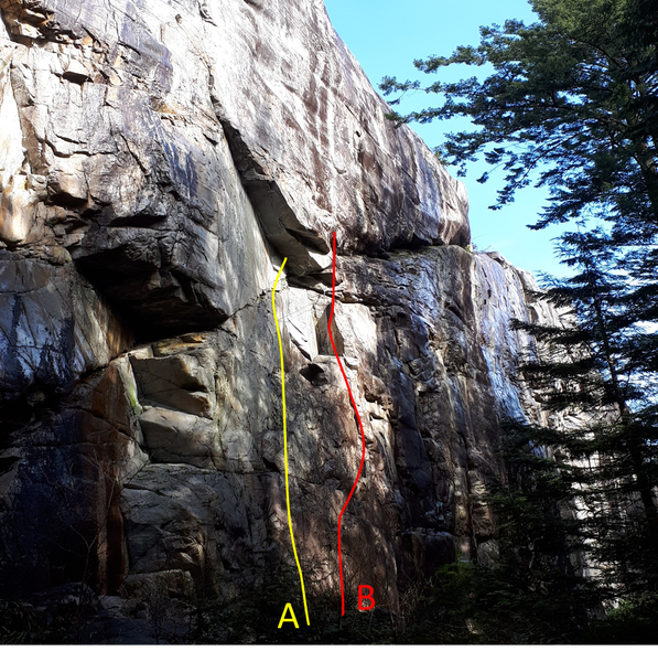 "Route A. The Lost Art of Keeping A Secret 10c, Sport, 5 bolts. Chris Small, 2018. Route B. An Audience with the Emperor. 11d. Trad to 0.75"" - 5 bolts. Brette Harrington. May 2018."