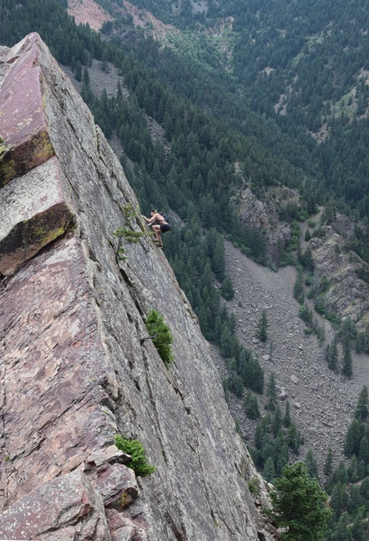 Free soloing the last pitch of the Yellow Spur. Dream climbing.