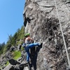 """Becca on the bouldery crux start of Cahullawassee. """"Honey badgers don't care!"""""""