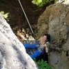 "Becca says ""the hanging belay for Xin is not too bad"""