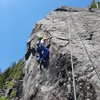 """Just before transitioning onto the slab, climber up and right is on """"Mullet Stew"""""""
