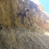 """""""Resting"""" on the good holds before the steeper section!"""