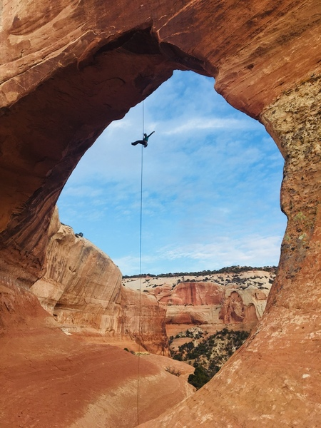 Rappel from the anchors at Wilson Arch