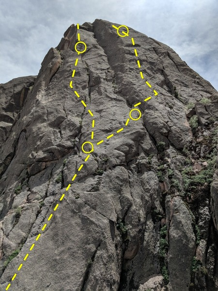 An approximation & upper detail of unknown routes right of Oklahoma Princess, starting location about 200 feet (?) downhill from OKP. The right skyline above is actually left side of Acid Rock to be accurate. The photo was taken from top of Anasazi Arete.