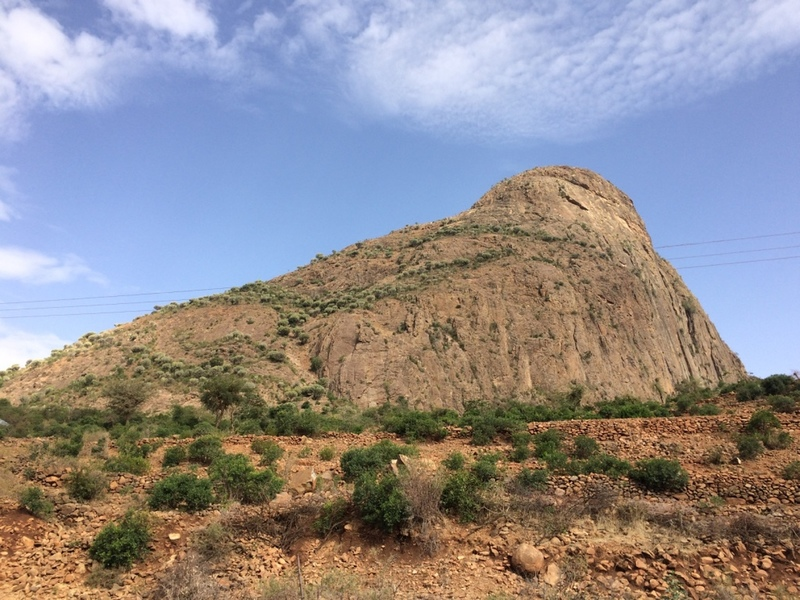 Slabs are on the left side of the rock formation