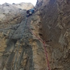 Cameron on P4 just past the crux.