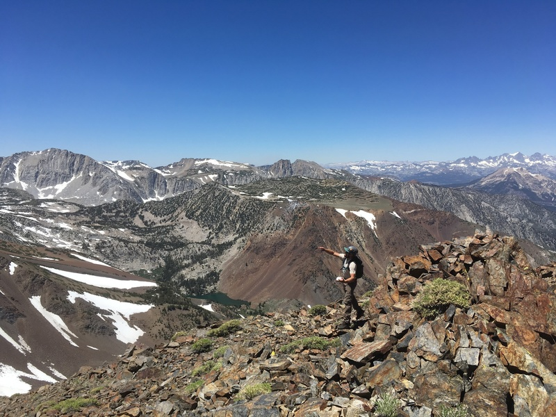 Looking west from the summit. Mammoth Mt. is in the middle of the right edge of photo