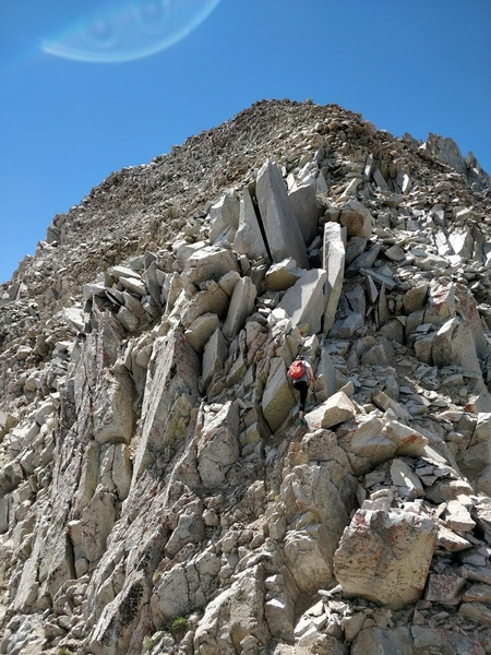 Thought I'd add one summer photo. <br> <br> This is the last couple hundred feet to the summit. Lots of loose rock but mostly low angle enough that it isn't a huge concern at this point. The lower half of the route has much better rock quality