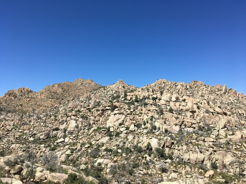 "Looking north to the ""top"" of Granite Mountain -- endless rock, endless adventure potential."