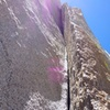 Looking up the flared groove of Pitch 2. The gear in the back is great the whole way up.