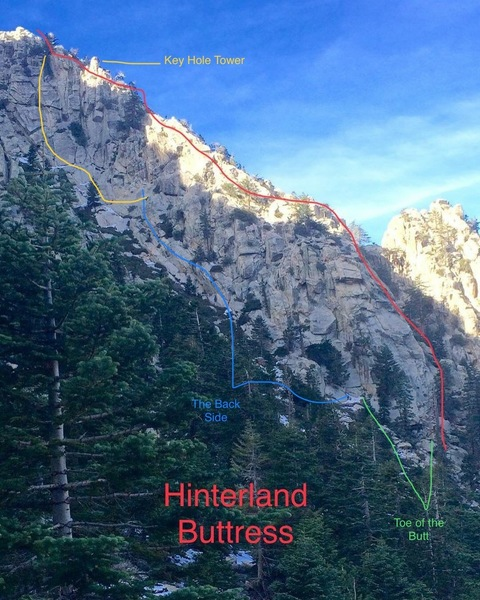 Layout of the Hinterland Buttress. Does not show Hinterland Wall.