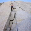 At the final headwall, there are some splitter cracks you can climb. Don't bypass these for easier ground, they are awesome High Sierra granite climbing.