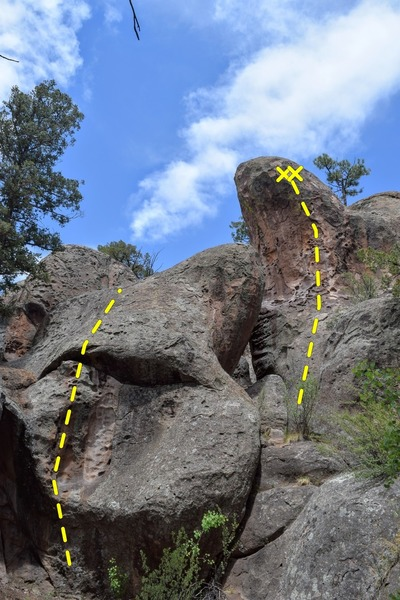 Further up the canyon, past Huecos Rancheros, there's a fun little 3 bolt line on the right (5.6/5.7ish) and a short roof-to-slab on the left. I do not know what they are.