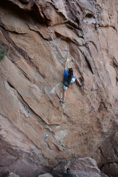 Emily Korth before the roof crux.