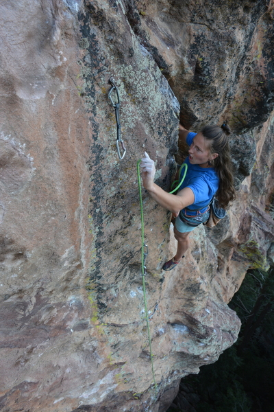 Emily Korth entering the upper crux.