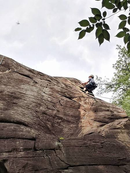Following the arête for the finish. (IMO the more fun finish; also gives you a better clipping position than the lefthand crack variation if you have shorter arms.)