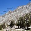Features on North Ridge of Lone Pine Peak.