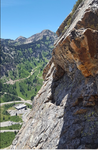 Looking over at Snowbird from the top of pitch 2