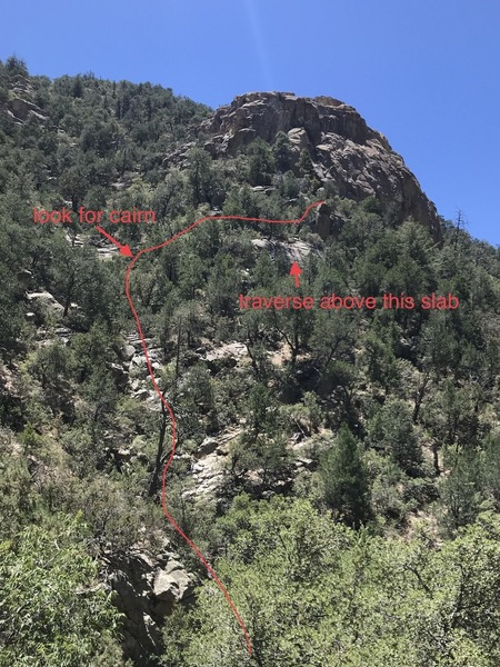 Hope this crude photo helps to plan your route and minimize impact. Descend clean, solid talus below the highway opposite the center of chimney rock to pick up the drainage. Hike up it (easy scrambling) and look for a large cairn (July '18)