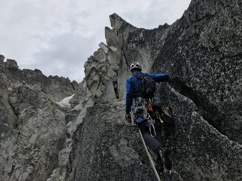 View from the belay on top of the fin - final two pitches... stay right and then left up the gully and scramble to the summit