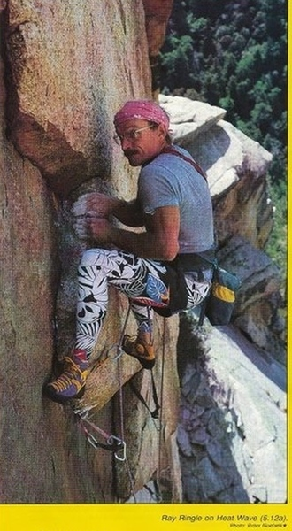 Ray Ringle on Heat Wave. Photo by Peter Noebels, Climbing Magazine 1987