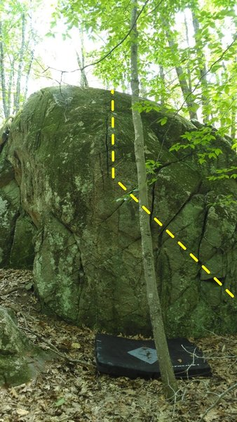 Start on lower right side of face and work up and left to topout at the finger crack just to the left of the tree. Good quality rock but the top could use a scrubbing.