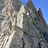 Tanner F soloing high on the N Ridge in July. Not just a spring/winter route!