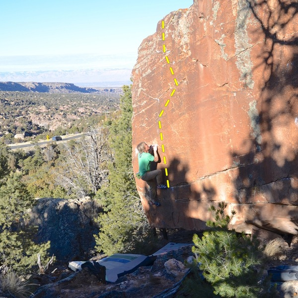Spotless V4/5 HB. Begin on the rail that my right foot is on, and follow crimps up and to the right then back left to the topout.