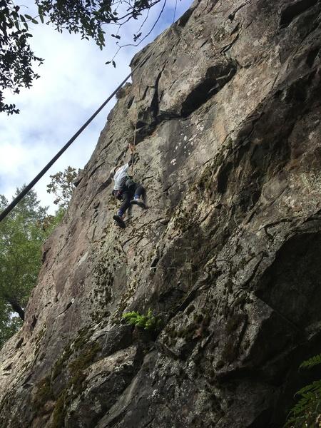 Cadence Brown climbing Green Mile (5.10b), Chezem Cliffs