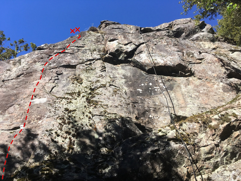 Route of The Phobia (5.10c) at Chezem Cliffs