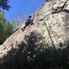 Cadence Brown climbing The Phobia (5.10c) at Chezem Cliffs